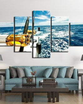 Canvas Wall Art 5 Pieces Fishing Pictures HD