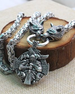 Men Stainless Steel Necklace Viking Wolf