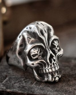 Stainless Steel Gothic Skull Ring Silver