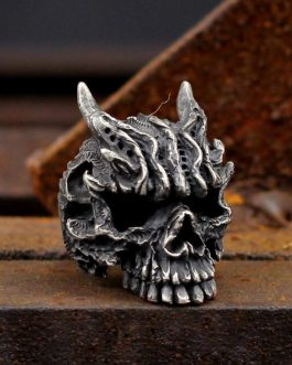Heavy Metal Gothic Black Asura Skull Rings