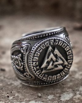 Adogeo  Viking Odin Stainless Steel Rings Valknut Futhark Runes Compass Magic Stave Adjustable Size Ring for Men