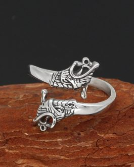 Adogeo  Viking Amulet Drgon Dreki Scandinavian Jormungand Adjustable Sze Rings Stainless Steel