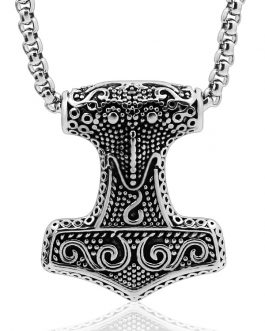 Adogeo 1pcs Raven Thor's Hammer Mjolnir Pendant Necklace Viking Scandinavian Norse Viking Necklace With Stainless Steel Chain