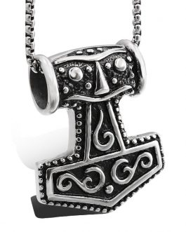 Adogeo 2019 New Style Stainless Steel Lovers' Viking Thor Hammer Pendant Necklace As Gift