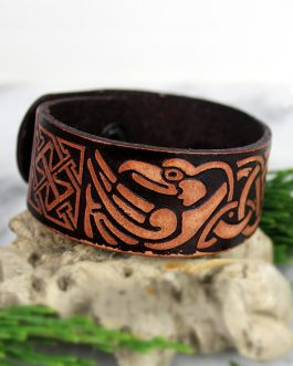 Adogeo Brown Viking Ravens of Odin Leather Bracelet Norse Birds Eagle Wrist Cuff Celtics Knot Wristband Nordic Amulet Jewelry
