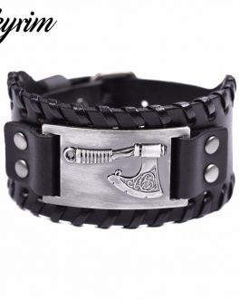 Adogeo Slavic Perun Axe Metal Crafts Connector Charms Leather Bracelet for Men Opal Viking Jewelry Wrap Wristband Bangle