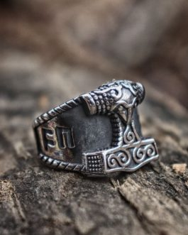 Adogeo  Viking Stainless Steel Ring Silver Good Luck Rune Mjolnir Thor Hammer Nordic Rings Amulet Jewelry Gift