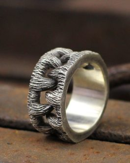 Adogeo Mens Monster Goth Teeth Ring Gothic Stainless Steel Ring for Men Fashion Biker Jewelry