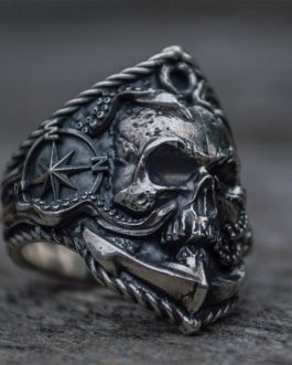 Adogeo  Seaman Stainless Steel Ring Unique Compass Octopus Tentacle Skull Biker Rings Punk Sailor Jewelry