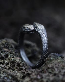 Adogeo Gothic Double Snake Ring Adjustable 316L Stainless Steel Ring Reptile Men Women Fashion Punk Jewelry