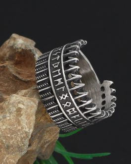 Adogeo Nordic Viking 316L Stainless Steel Amulet Rune Ring With Gift Bag