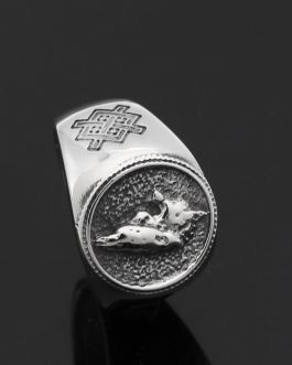 Adogeo Men 316L Stainless Steel Norse Viking Odin's Wolf And Raven Vantage Ring Jewlery