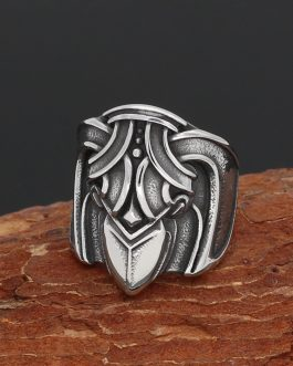 Adogeo Men 316L Stainless Steel Norse Viking Amulet Wiccan Raven Pagan Ring With Gift Bag