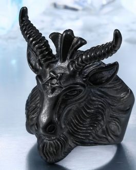 Adogeo 316L Stainless Steel Vintage  Big Goat Head Ring Nose Viking  Animal Jewelry For Man Free Shipping