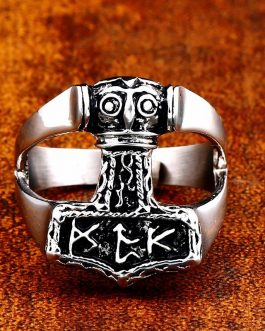 Adogeo 316L Stainless Steel Man Ring High Quality Nose Vikings Odin 'S Symbol Myth Rune Ring Jewelry Amulet Vintage