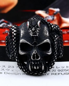 Adogeo 316L Stainless Steel Retro Style Vintage Snake Ring With Red Stone Devil Skull Biker Exquisite Jewelry For Men