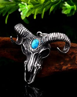 Adogeo 316L Stainless Viking Norse Odin Sheep Head For Men Amulet Scandinavian Necklace Pendant Animal Jewelry