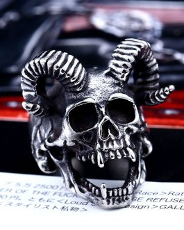 Adogeo 316l Stainless Steel Goat Head Angel Skull For Man  Cool Punk Male Ring Personality Style Jewelry