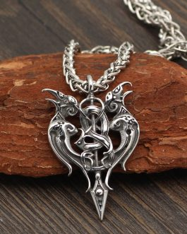 Adogeo 316l Stainless Steel Viking Odin's Raven Amulet In Thor's Hammer Pendant Necklace
