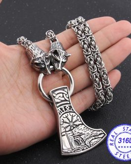 Adogeo 316L Stainless Steel Vikings Wolf Keel Chain Necklace With Nordic Rune Axe Pendant Necklace As Men Gift