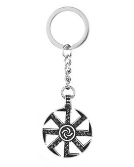 Adogeo 5pcs Slavic Kolovrat Pendant Key Chain Nordic Viking Znich Talisman Best Friend Jewelry