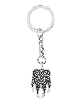 Adogeo 5pcs Slavic Veles Pendant Key Chain Vintage Norse Viking God Talisman Best Friend Jewelry
