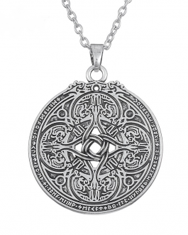 Adogeo Dragon Shield for Military Protection Necklace Round Pendant Wiccan Celtics Knot Amulet Necklace Vintage Jewelry