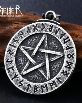 Adogeo 316L stainless Norse Viking Pendant Necklace Large Rune Pentacle Pendant Pentagram Jewelry Wiccan Necklace Norse Pagan