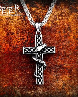 Adogeo 316L Stainless High Quality Viking Snake Cross Pendant Necklacet For Men Amulet Scandinavian Fashion Jewelry