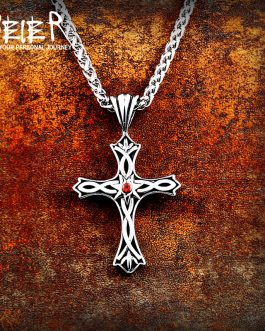 Adogeo 316L Stainless Steel Gothic Style Cross Viking Necklace Pendant For Man And Woman Personality Fashion Jewelry