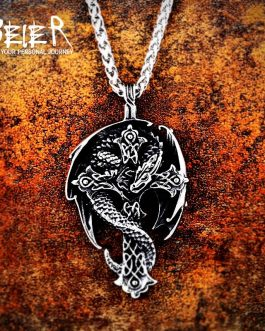 Adogeo 316L Stainless Steel Norse Vikings Pendant Amulet Dragon In Cross Necklace Guardian  Original Animal Jewelry