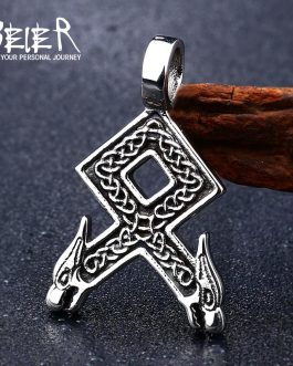 Adogeo 316L Stainless Steel Norse Vikings Rune Pendant Necklace Odal With Wolf Heads Norse Vikings Runes  Pendant Necklace