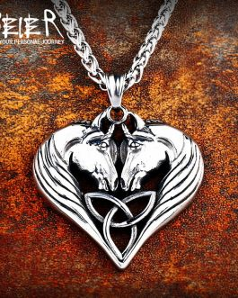 Adogeo 316L Stainless Steel Norse Vikings High Quality Pendant Necklace Norse Horse Lords Necklace Original Animal Jewelry LP464