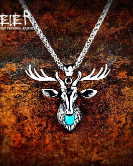 Adogeo 316L Stainless Steel Cool Deer Head Amulet Nose Viking Necklace Men Gift  Fashion Jewelry High Quality Animal LP446