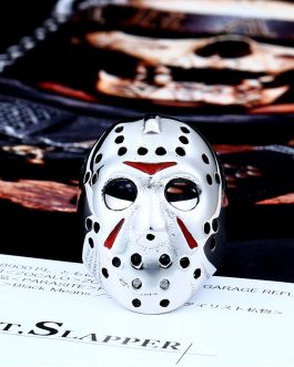 Adogeo Men Ring 316L Stainless Steel Biker Jason Voorhees Hockey Mask with red colour Antique Men Jewelry LLBR8-461R