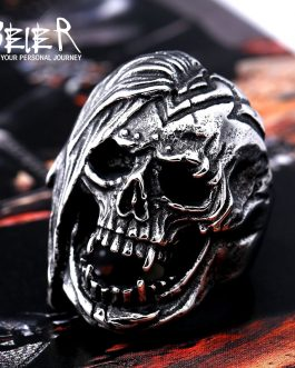 Adogeo 316L Stainless Steel  Skull Ring For Men top quality Vintage Exaggerated  fashion Jewelry LLBR8-396R