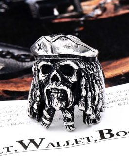 Adogeo 316L Stainless Steel Viking Fashion Man Bandit ghost Ring Pirate Captain Ring Bad Ass Mens Jewelry LLBR8-548R