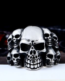 Adogeo 316L Stainless Steel high quality Biker ring Punk Lots of Skull Ring for men Fashion Jewelry LLBR8-079R