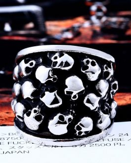 Adogeo 316L Stainless Steel men ring personality punk cluster skull ring men vintage fashion Jewelry
