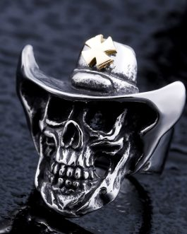 Adogeo 316l Stainless Steel Ring Top Quality Gold Cross Hat Skull Ring Fashion Jewelry