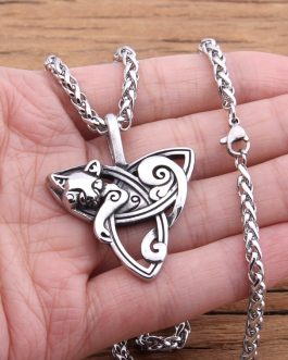 Adogeo Hot New Style Viking Jewelry fox/cat Necklaces &Pendants Triquetra Silver Color Metal Chain Gift For Women And Men
