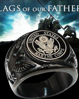 Adogeo Black/Silver USA Military Viking Ring Badge Eagle United States MARINE CORPS US ARMY Men Rings United States In Stainless Steel