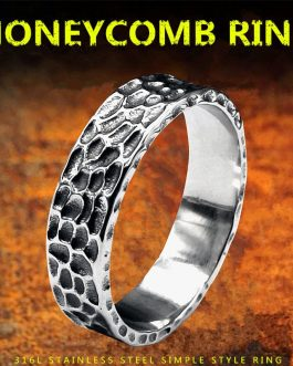 Adogeo Punk Gothic Ring For Men Stainless Steel Antique Honeycomb Simple Ring Old Style For Men Jewelry Birthday Gifts