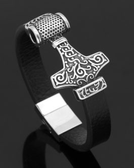 Adogeo Men Nordic Viking Thor Hammer MJOLNIR Real Leather Stainless Steel Bracelet With Gift Bag