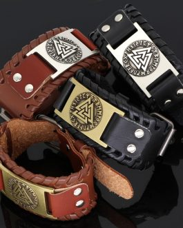 Adogeo Nodic Viking Vegvisir Compass Leather Amulet Odin Symbol Bracelet -Adjustable Size 19-28 Cm