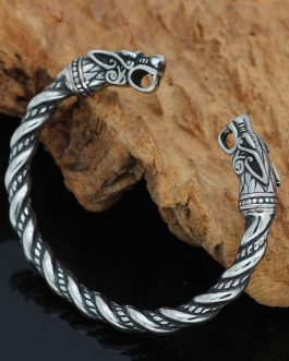 Adogeo Nordic Viking Norse Dragon Scandinavian Bracelet Men Wristband Cuff Bracelets With Valknut Gift Bag
