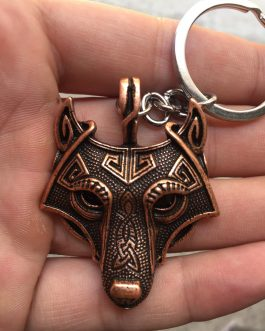 Adogeo 5 Colors 1pcs Norse Vikings Keychain Norse Wolf Head  Original Animal  Wolf Head Hange Key Chain Jewelry