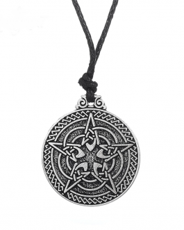 Adogeo LIKGREAT Pentacle Round Pendant Necklace for Protection Wiccan Jewelry Pagan Jewish Symbol Antique Silver Charm Accessories