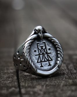 Adogeo Crow Skull Rune Signet Rings Mens Viking Silver Color Stainless Steel Ring Nordic Amulet Jewelry