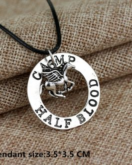 Adogeo Fashion Jewelry Antique Silver Charm Percy Jackson CAMP HALF Blood Flying Horse Pendant Necklaces Men Women Gifts